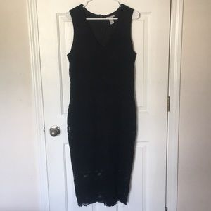H&M Black Midi Dress with Lace Overlay